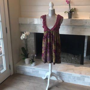 Free People Lace & Floral Velvet Dress XS EUC